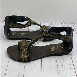 Seychelles leather beaded T strap zip up sandals